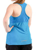 Womens Sports Shoulder Strap Singlet Rear Blue Modelled