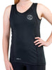 Women's Sports Traditional Singlet Front Black Modelled