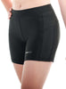 Womens Yoga Shorts Extended Leg Front Black Modelled