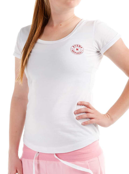 Women's Cotton T-Shirt Front White Modelled