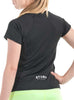 Womens Sports T-Shirt Round Neck Rear Black Modelled
