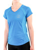 Womens Sports T-Shirt V Neck Front Blue Modelled