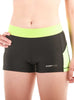 Womens Yoga Shorts Front Black Lime Modelled