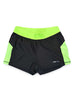 Womens Yoga Shorts Front Black Lime