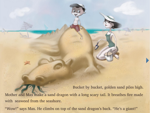 A page from Max and His Big Imagination: The Beach