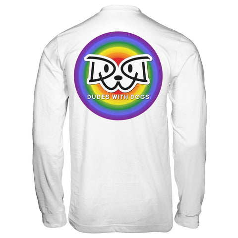RAINBOW BULLSEYE Dudes With Dogs® Logo T-shirt / Pullover Hoodie - FREE SHIPPING $30+