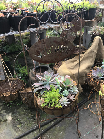 Planted welcome basket-metal planter