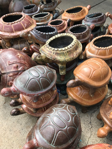 Large Clay turtles.  Set of 3.