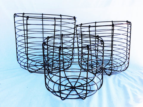 Heavy Round wire baskets set of 3