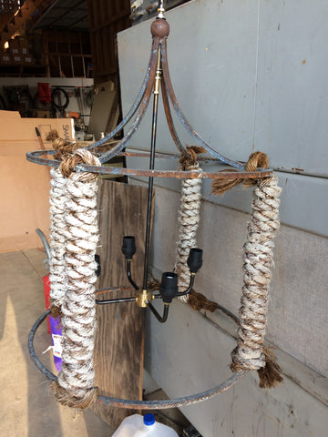 4 Cluster White Wash Rope Light-R