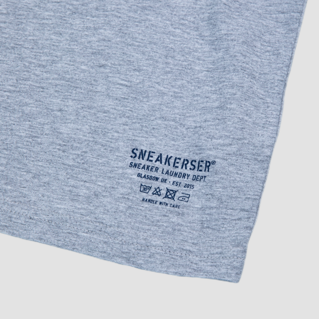 Sneakerser Ladies Court Care Logo Long Length T Shirt - Heather Grey / Navy
