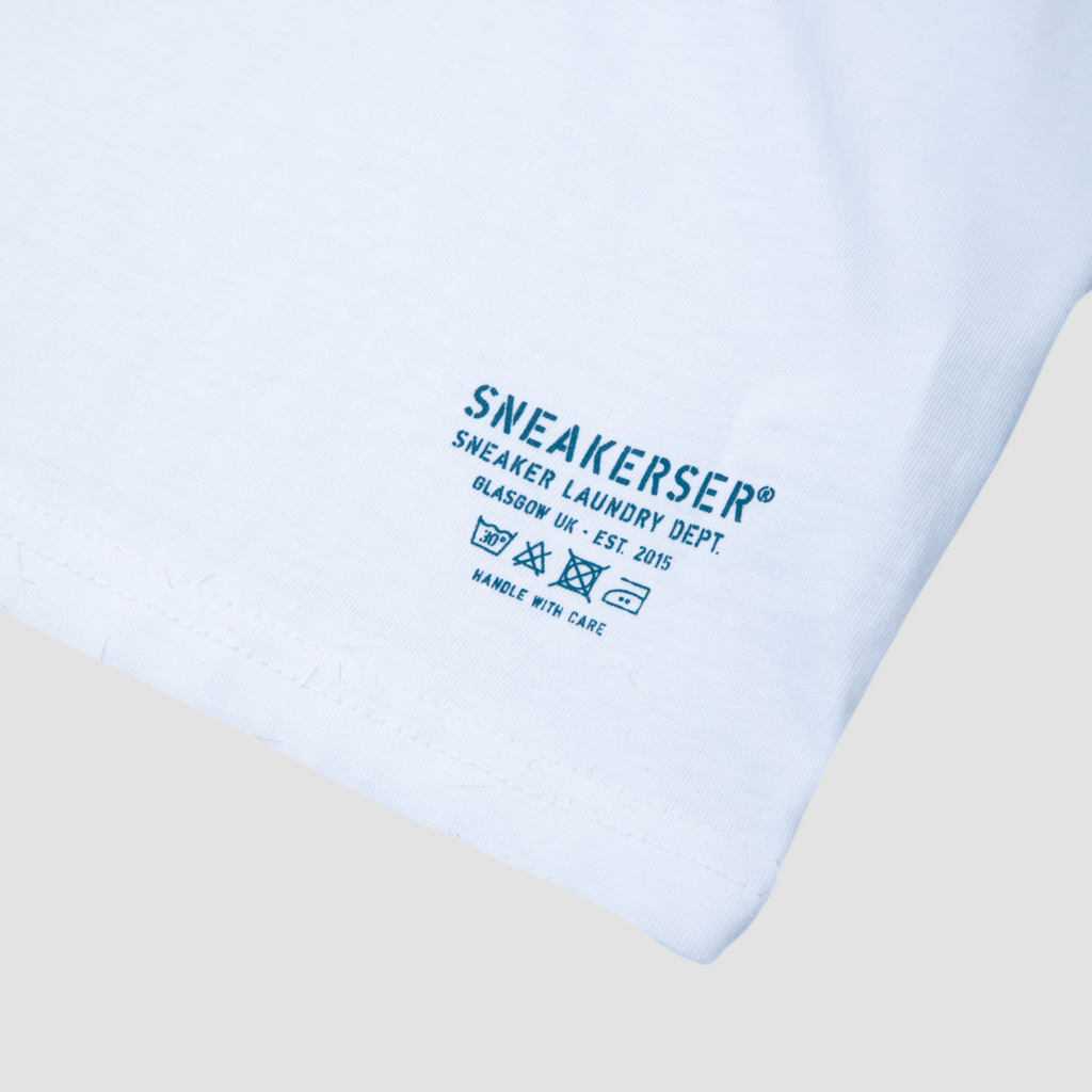 Sneakerser Ladies Court Care Logo Long Length T Shirt - White / Ocean