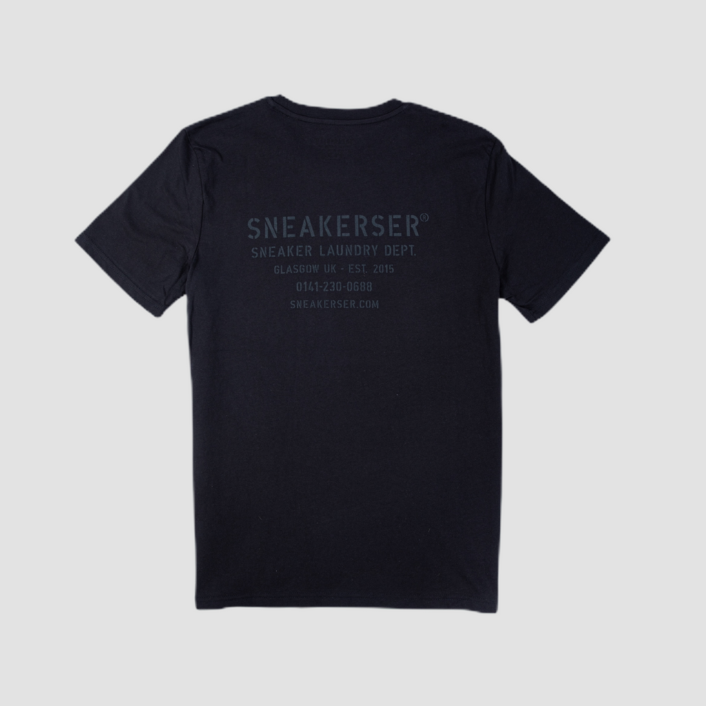 Sneakerser DNA Laundry Logo T Shirt - Black / Black