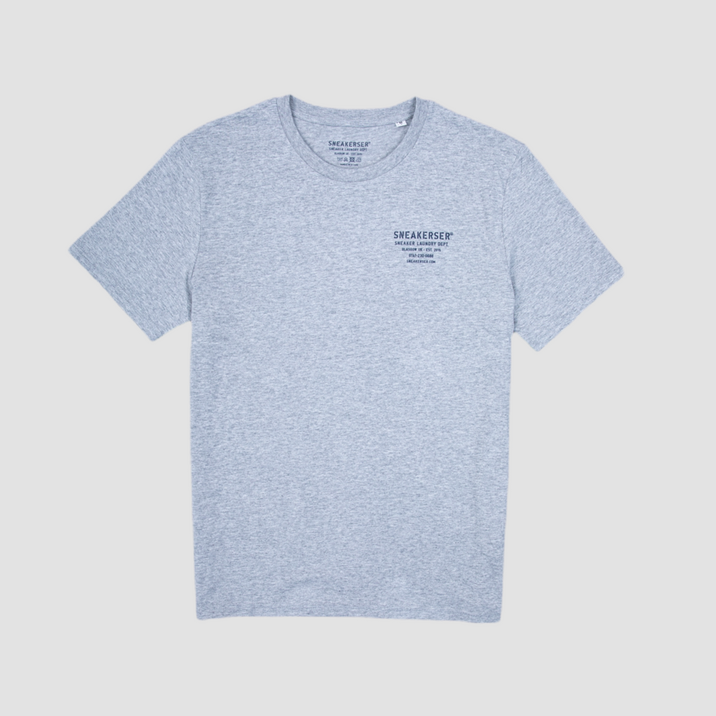 Sneakerser DNA Laundry Logo T Shirt - Heather Grey / Navy