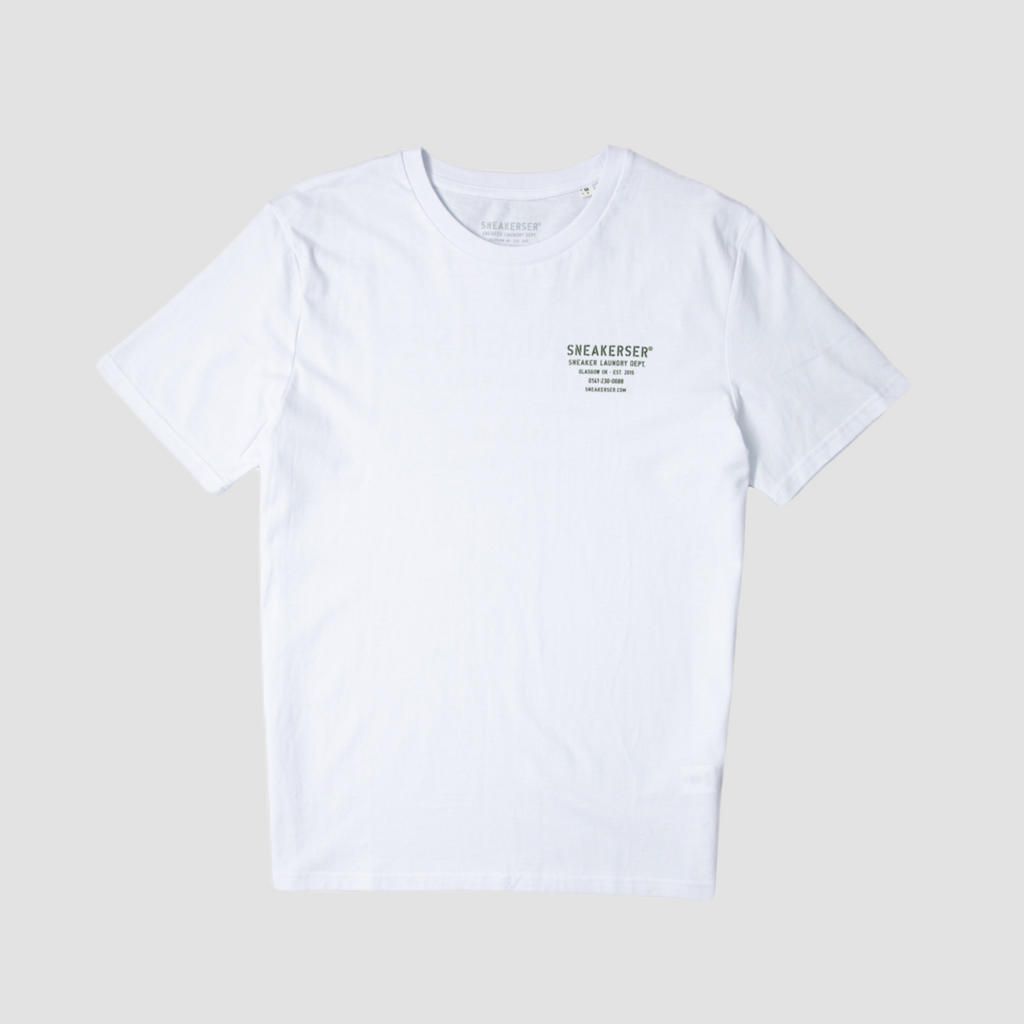Sneakerser DNA Laundry Logo T Shirt - White / Army Green