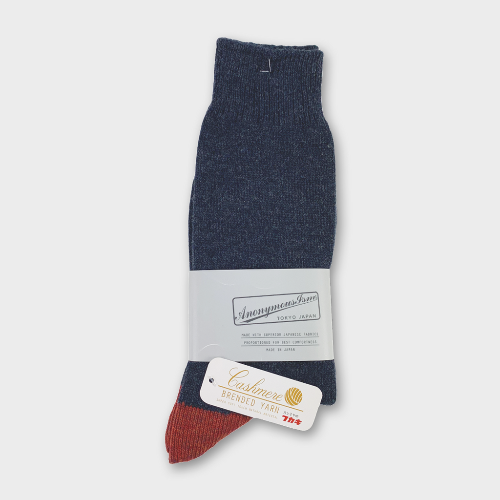 Anonymous Ism Japan Cashmere Wool Crew Socks - Navy