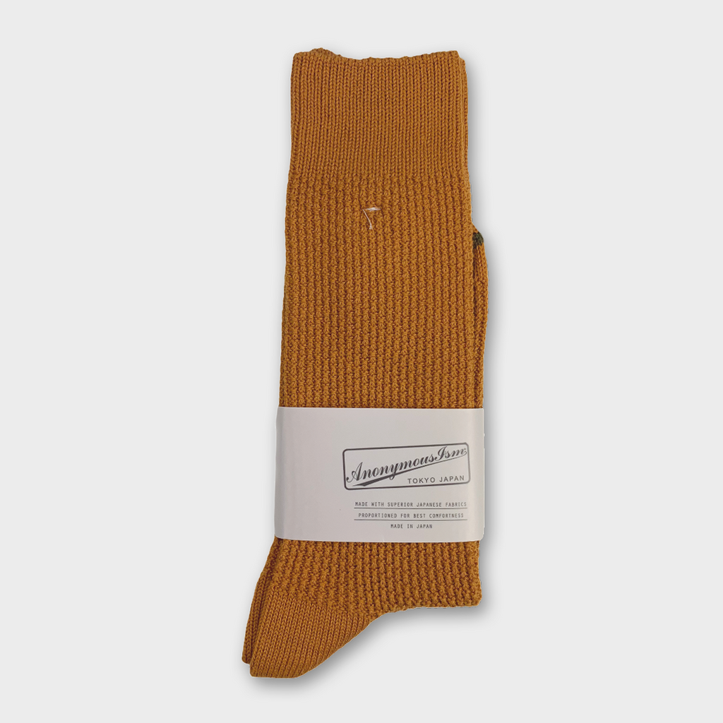 Anonymous Ism Japan Waffle Rib Crew Socks - Orange