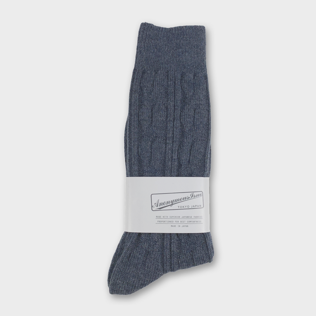 Anonymous Ism Japan Woven Pattern Crew Socks - indigo