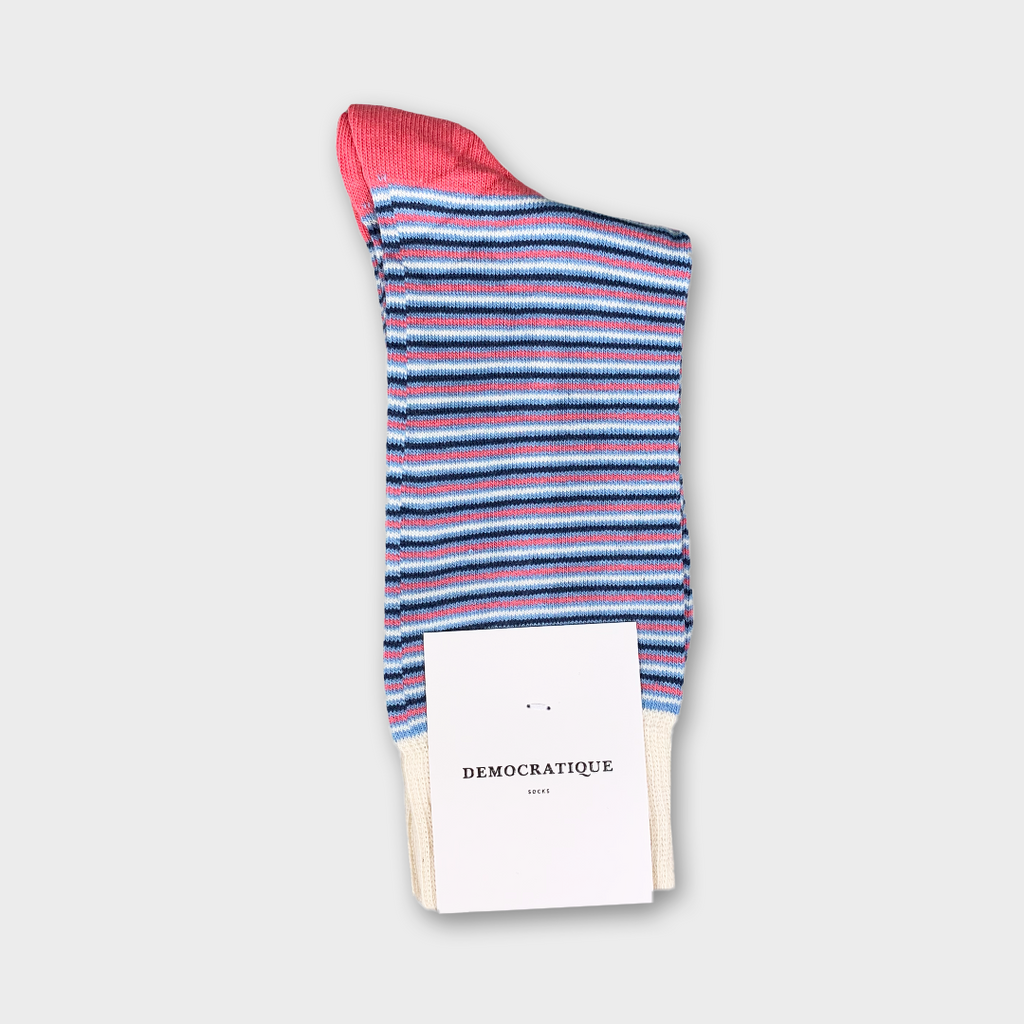 Democratique Originals Ultralight Stripes Socks - Palm Springs, Blue, Shaded Blue, Off White & Watermelon