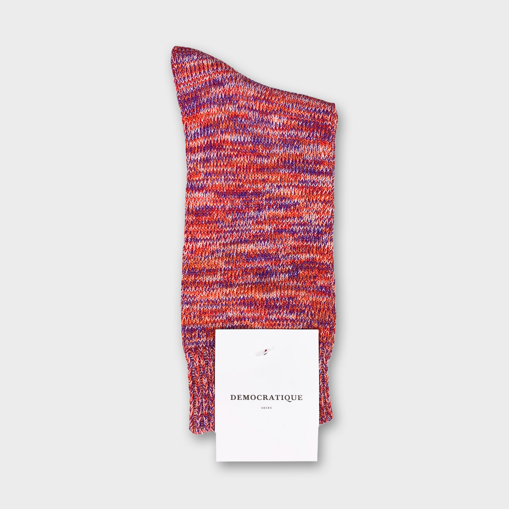 Democratique Relax Chunky Flat Knit Socks - Supermelange Pearl Red, Purple Rain, Off White & Orange County
