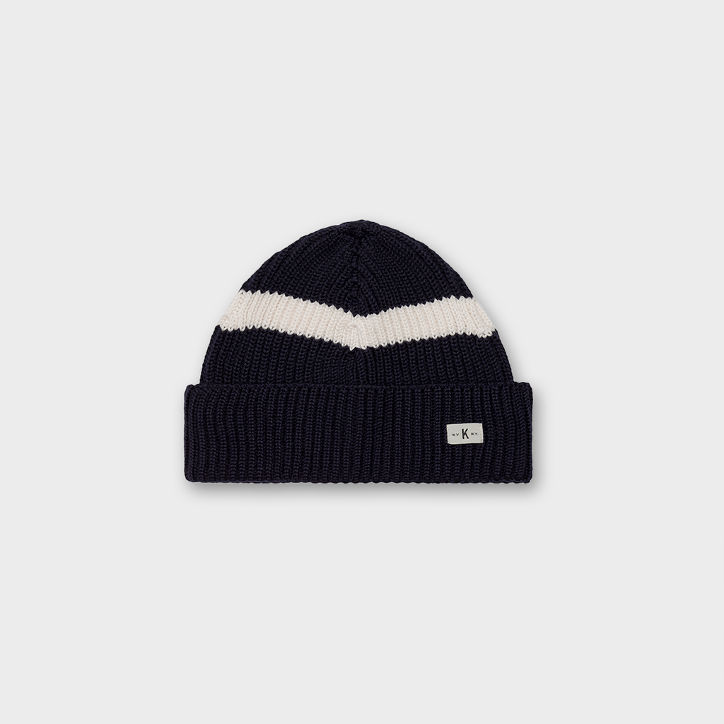 Knickerbocker New York Merino Strip Knitted Hat - Dark Navy / White