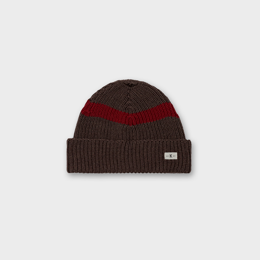 Knickerbocker New York Merino Strip Knitted Hat - Hazel Melange / Red