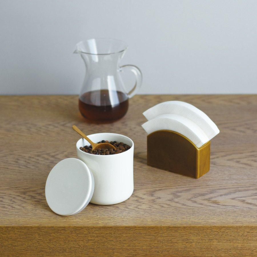 Kinto Japan SCS Coffee Brewer Cotton Filter Papers Porcelain Stand - White