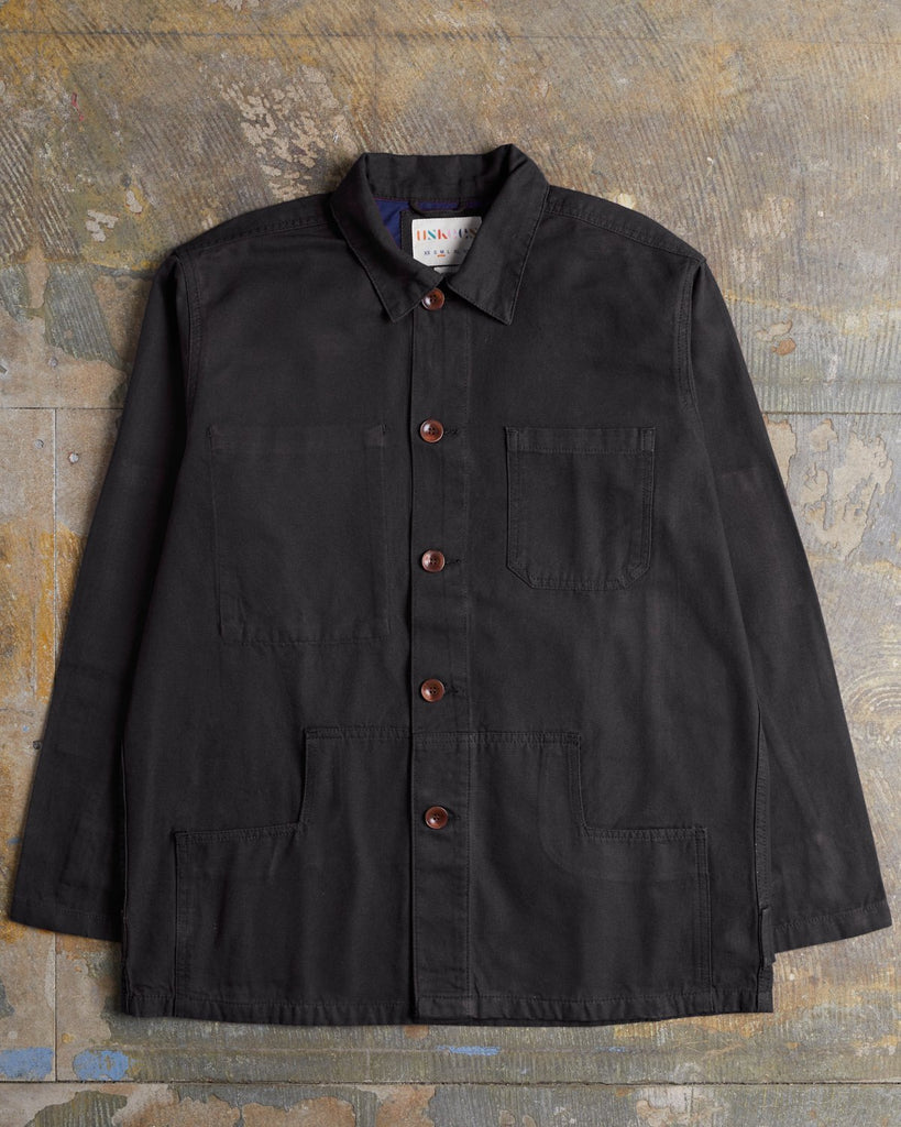 Uskees #3004 Organic Cotton Button Work Jacket - Faded Black