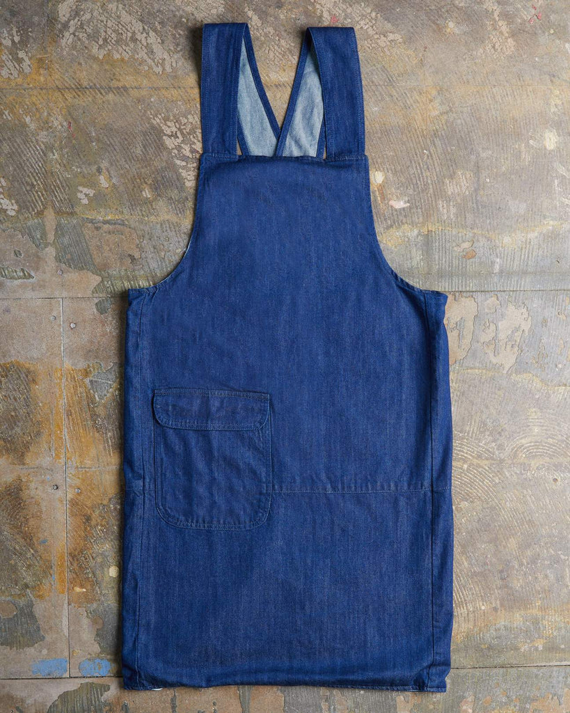 Uskees #9002 Organic Cotton Crossback Apron - Rinsed denim