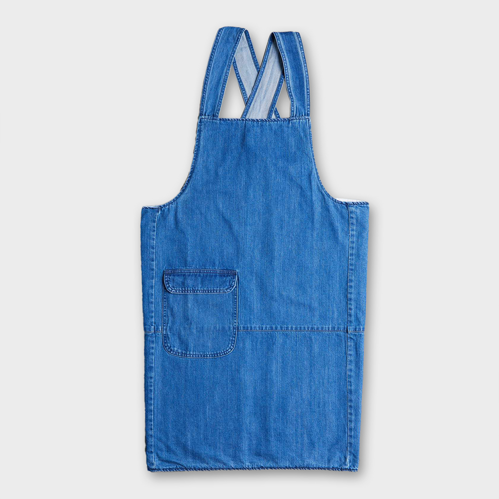 Uskees #9002 Organic Cotton Crossback Apron - Washed denim