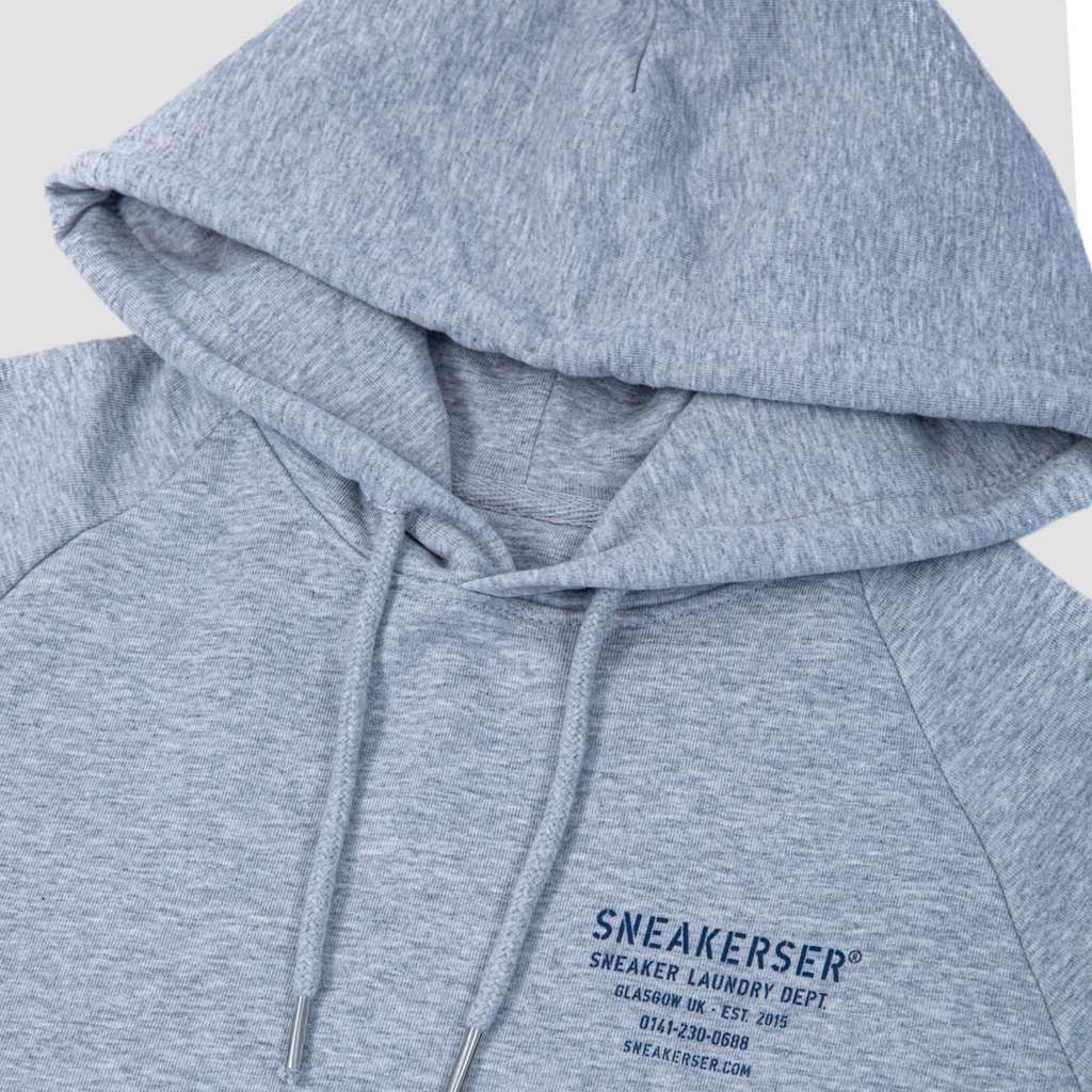 Sneakerser Icon Laundry Logo Raglan Hoody - Heather Grey / Navy