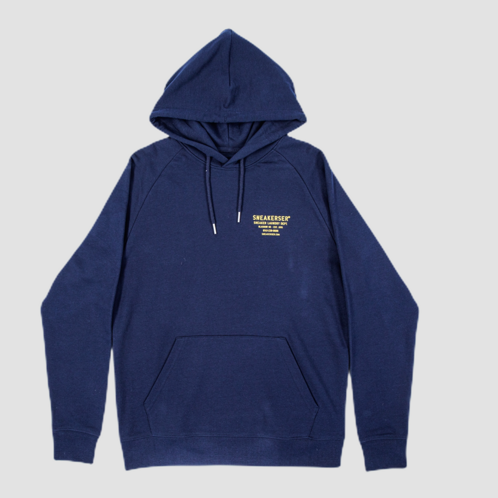 Sneakerser Icon Laundry Logo Raglan Hoody - Navy Blue / Yellow