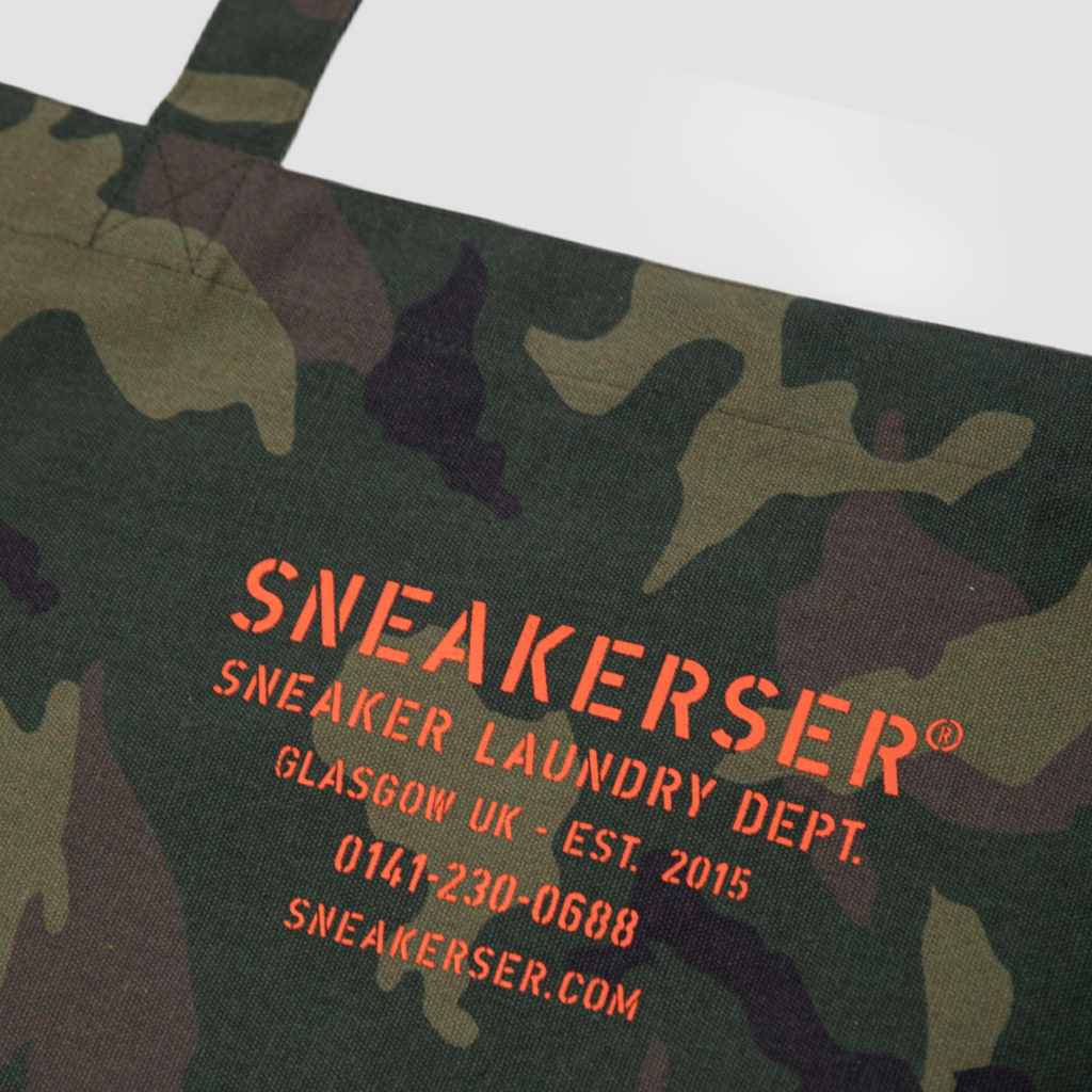 Sneakerser Laundry Logo Heavyweight Canvas Shopper Bag - Camo / Safety Orange