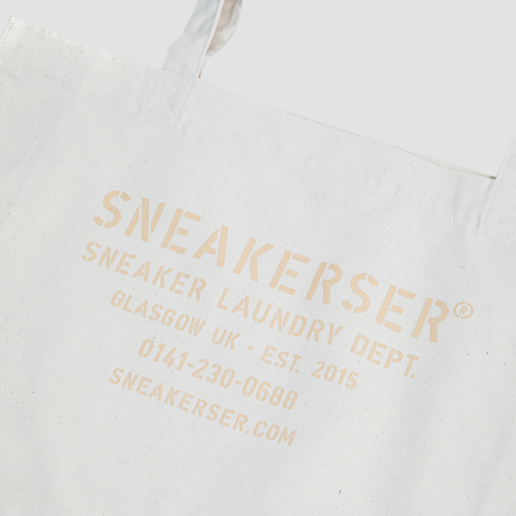 Sneakerser Laundry Logo Heavyweight Canvas Shopper Bag - Natural / Pale Pink
