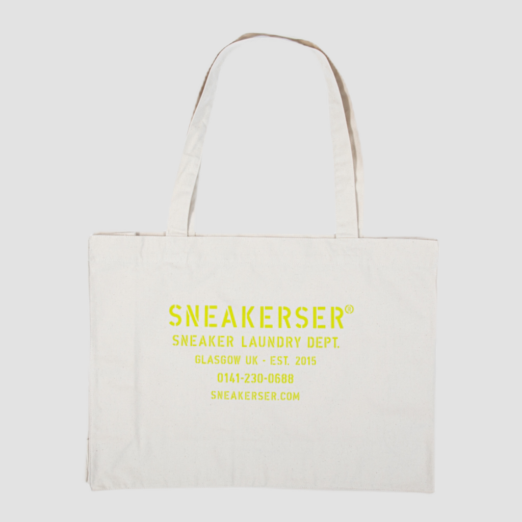 Sneakerser Laundry Logo Heavyweight Canvas Shopper Bag - Natural / Lime