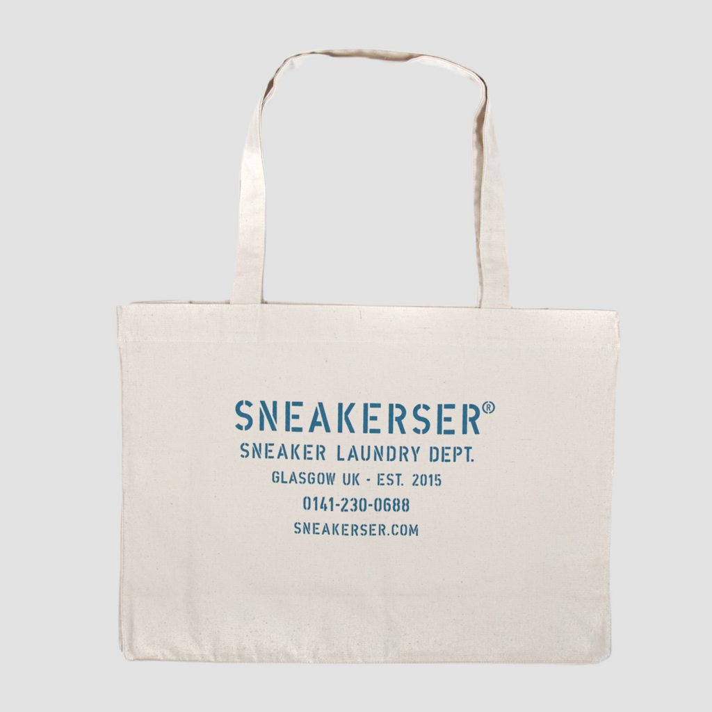 Sneakerser Laundry Logo Heavyweight Canvas Shopper Bag - Natural / Ocean Blue