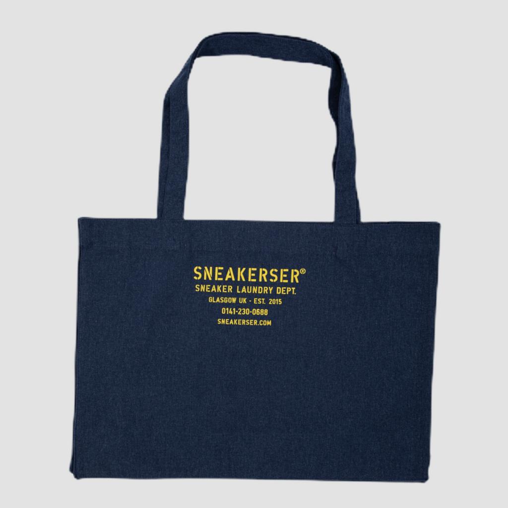 Sneakerser Laundry Logo Heavyweight Canvas Shopper Bag - Navy Fleck / Yellow