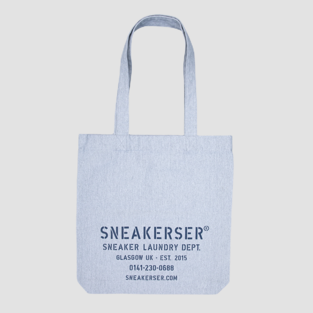 Sneakerser Laundry Logo Heavyweight Canvas Tote Bag - Heather Grey / Navy