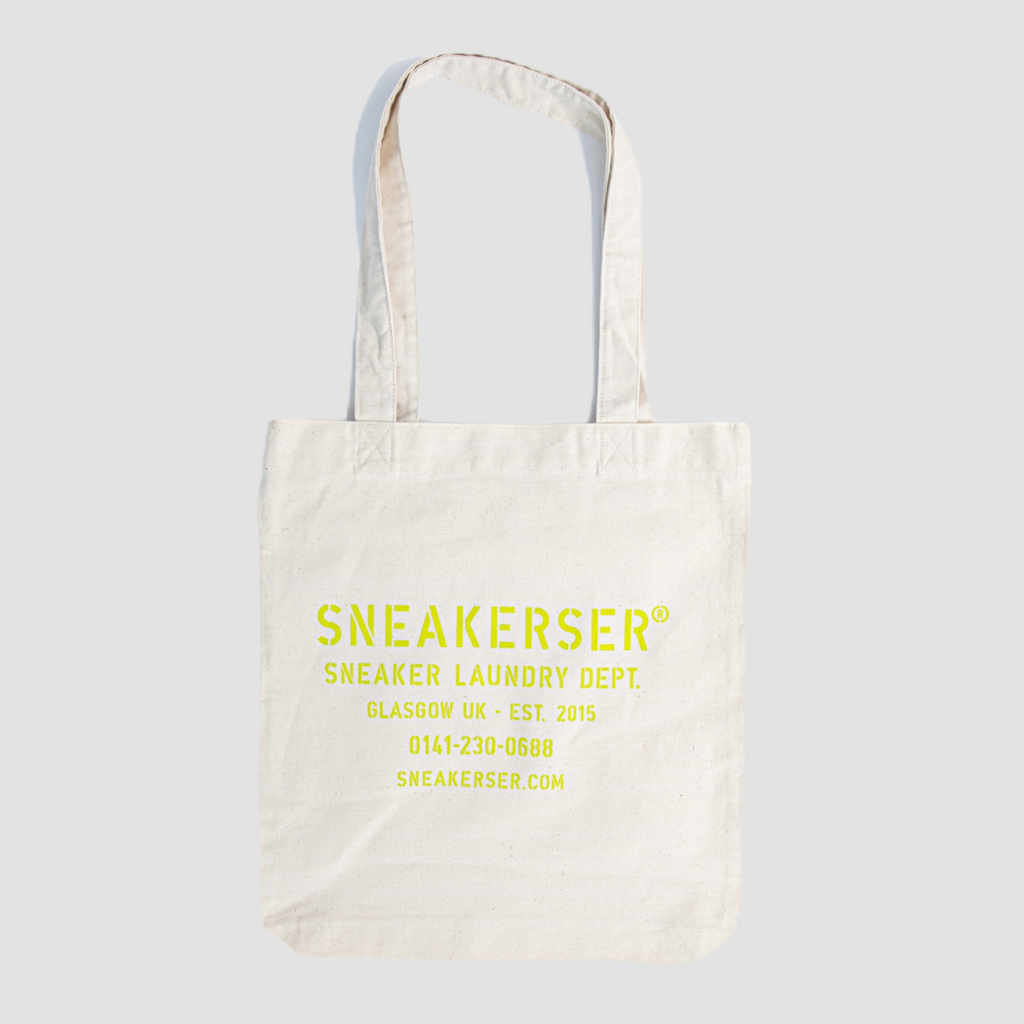 Sneakerser Laundry Logo Heavyweight Canvas Tote Bag - Natural / Lime