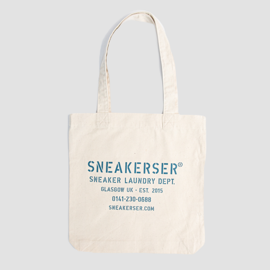 Sneakerser Laundry Logo Heavyweight Canvas Tote Bag - Natural / Ocean Blue
