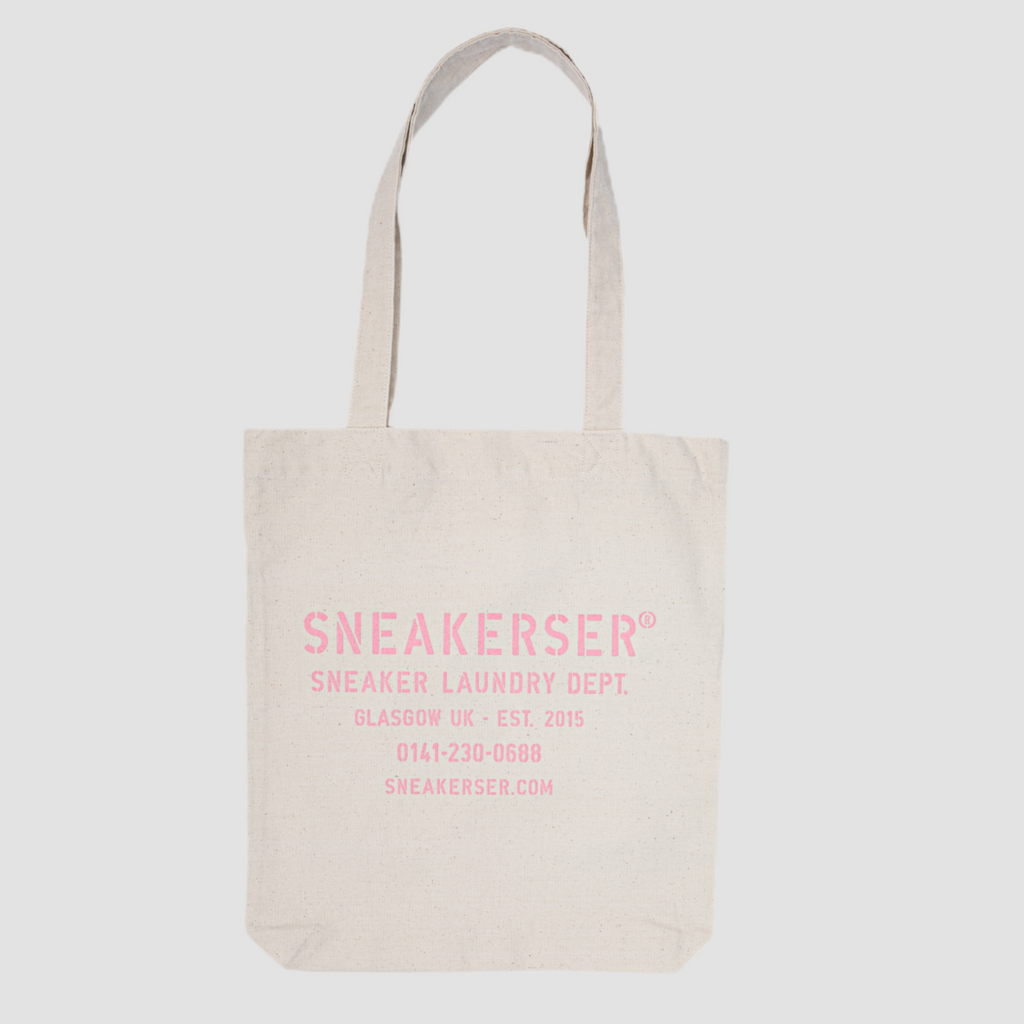 Sneakerser Laundry Logo Heavyweight Canvas Tote Bag - Natural / Pink
