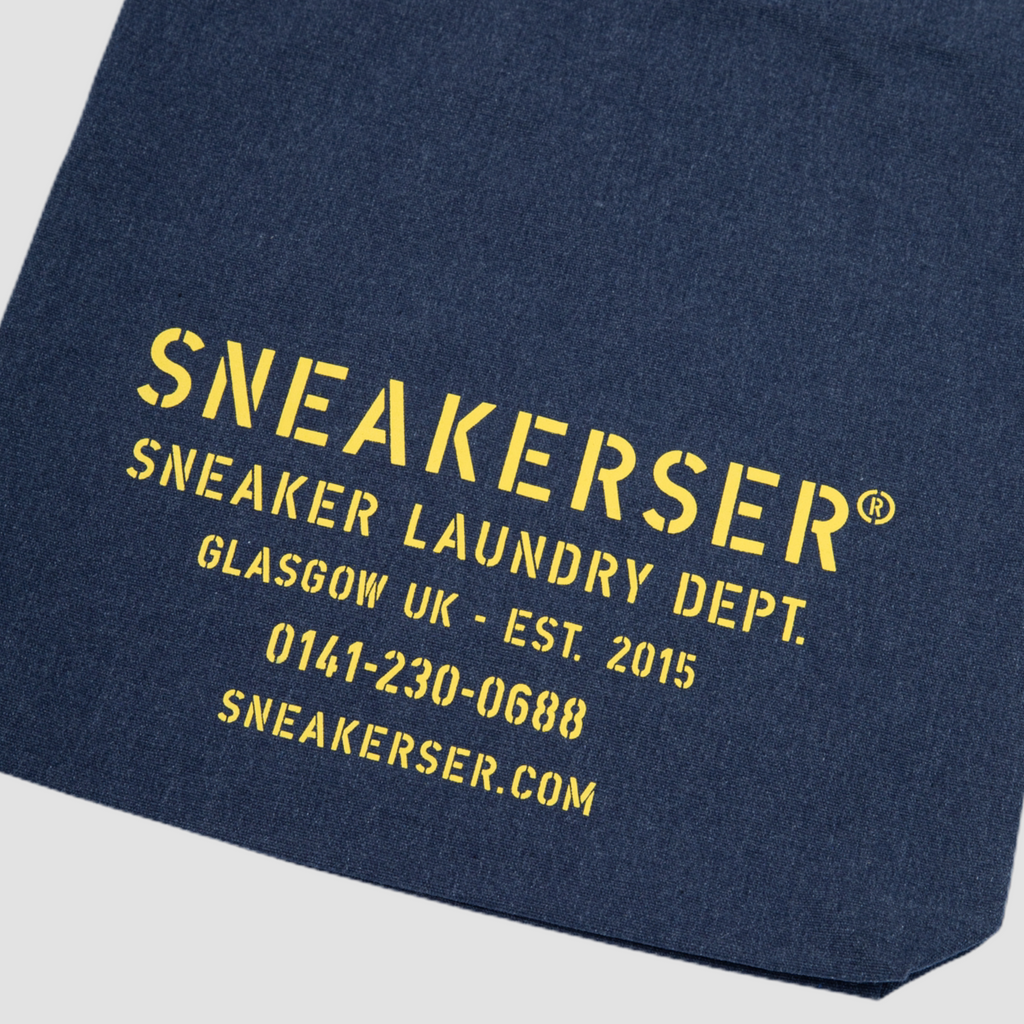 Sneakerser Laundry Logo Heavyweight Canvas Tote Bag - Navy Fleck / Yellow
