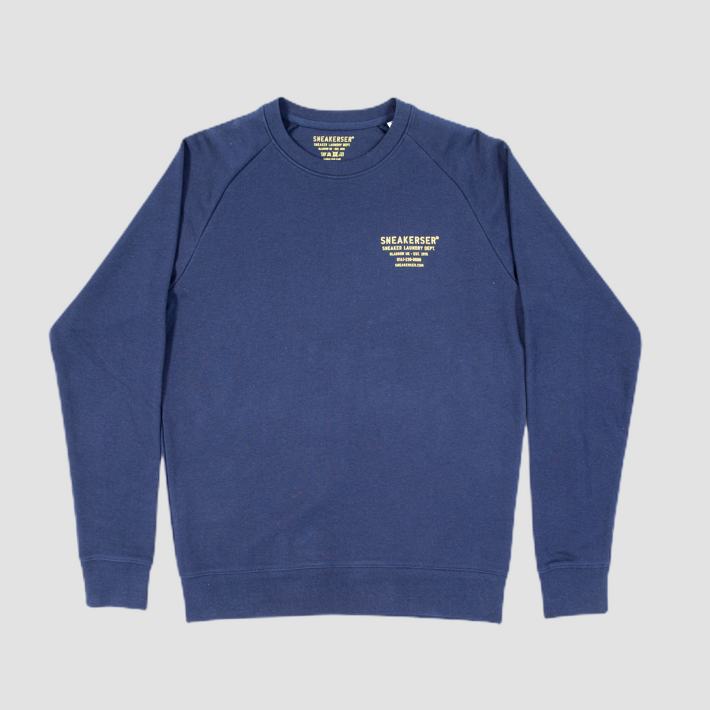 Sneakerser Master Laundry Logo Raglan Sweatshirt - Navy Blue / Yellow