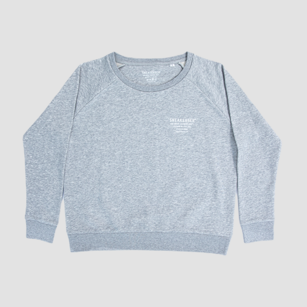 Sneakerser Ladies Moto Logo Relaxed Raglan Sweatshirt - Heather Grey / White
