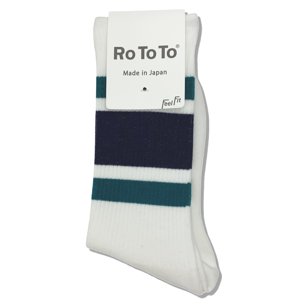 Ro To To Japan Newschool Socks - Blue Green / Navy
