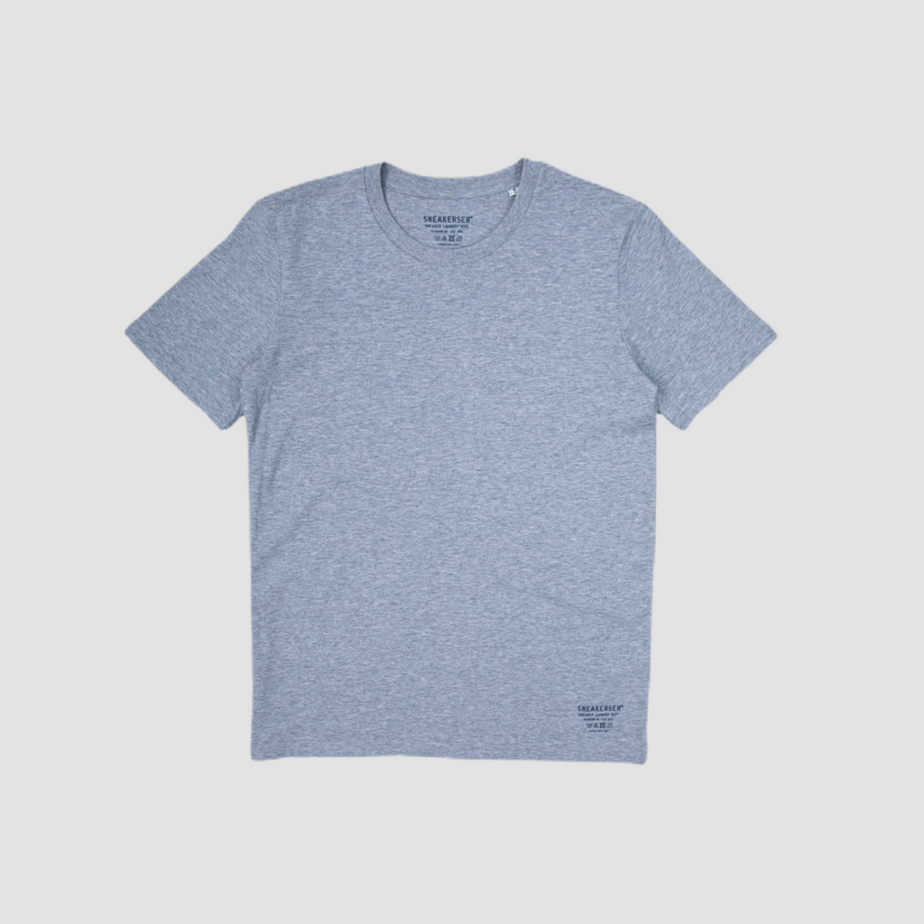 Sneakerser Ladies Simple Care Logo T Shirt - Heather Grey / Navy