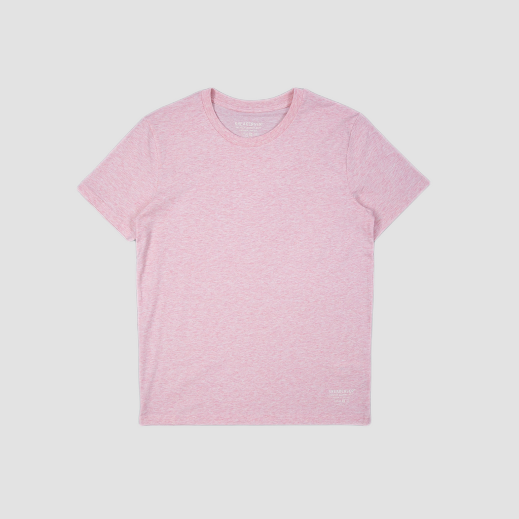 Sneakerser Ladies Simple Care Logo T Shirt - Heather Pink / White