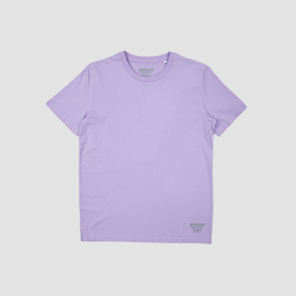 Sneakerser Ladies Simple Care Logo T Shirt - Lilac / Olive Green