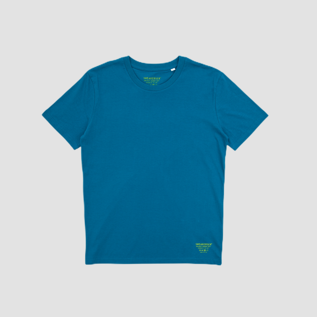 Sneakerser Ladies Simple Care Logo T Shirt - Marine Blue / Lime