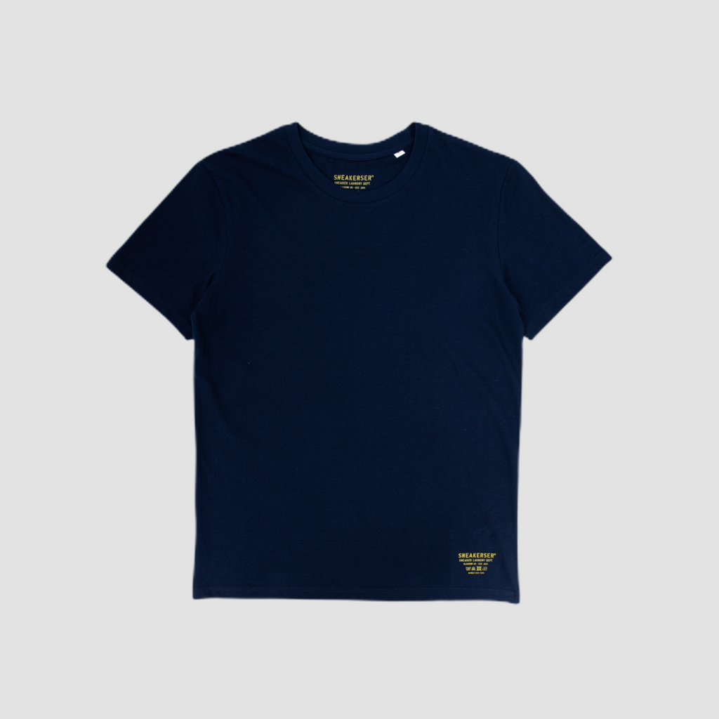 Sneakerser Ladies Simple Care Logo T Shirt - Navy Blue / Yellow